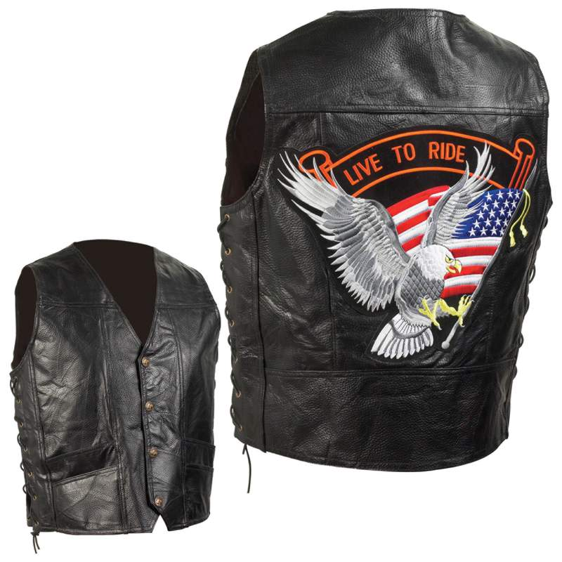 HandSewn Leather Biker Vests (GFVEMBPT)