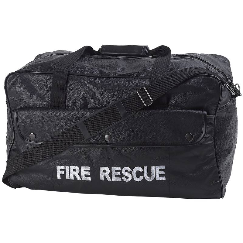 Black Leather Fire Rescue Duffle Bags (LUFIRE)