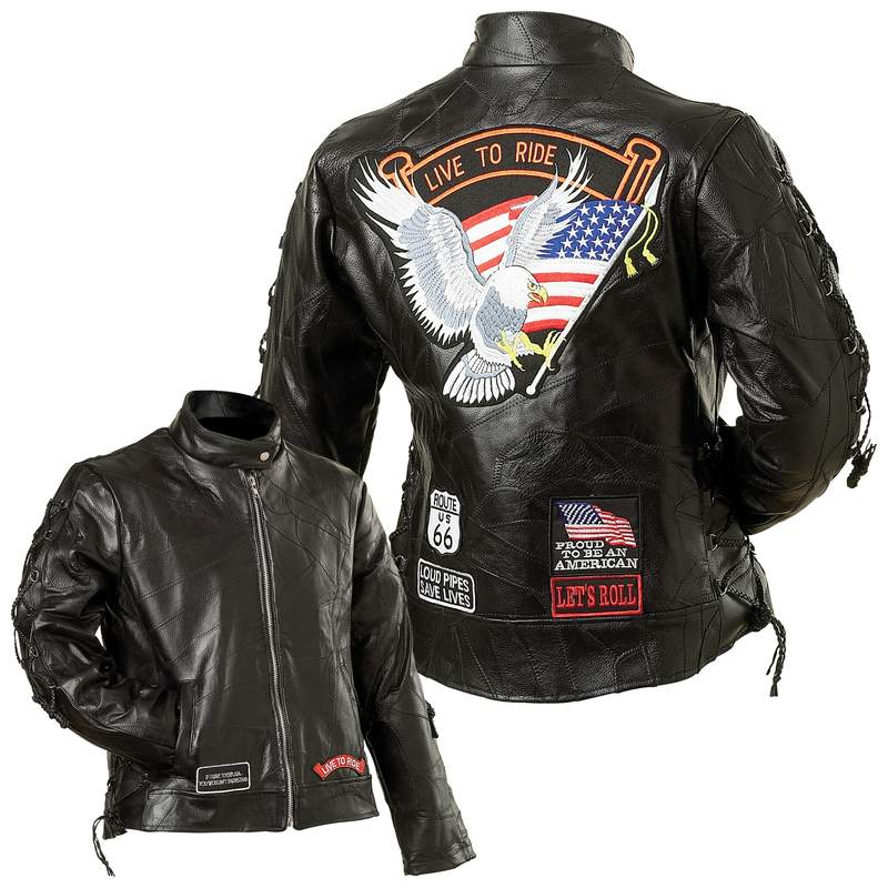 Ladies' Buffalo Leather Motorcycle Jackets (GFLADLTR)
