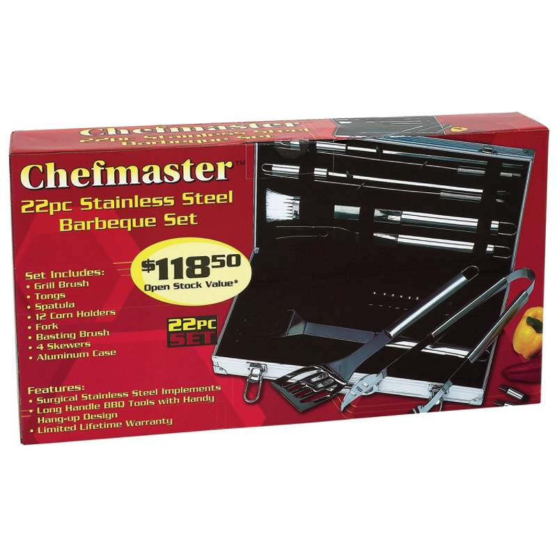 Chefmaster™ 22pc Stainless Steel Barbeque Sets (KTBQSS22)
